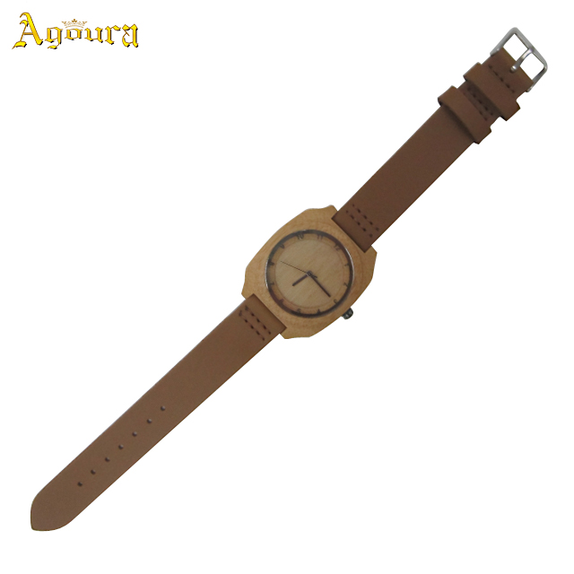 2019 New Fashion Bamboo Watch Women, Handmade Wooden Watch Dial With Leather Strap