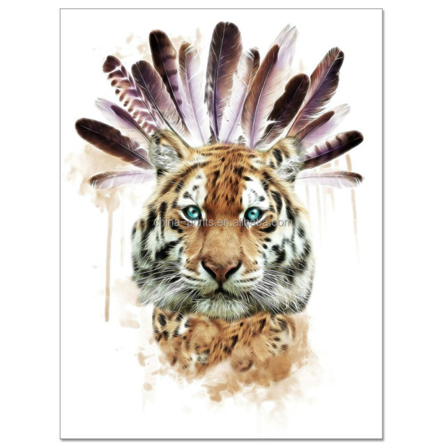 Abstract Animal Canvas Wall Art Cool Tiger With Watercolor Feather Painting Prints