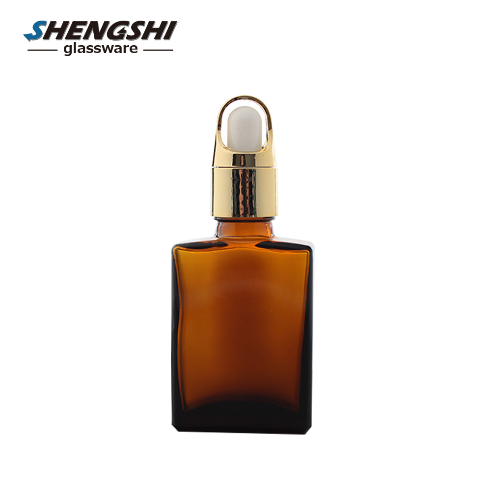 wholesale 15ml 30ml rectangle/square amber glass dropper bottles with pipette dropper