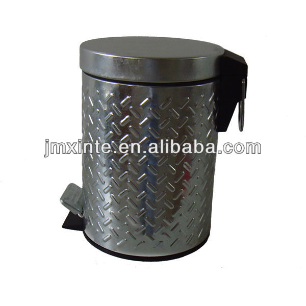 3L galvanized steel foot pedal dustbin