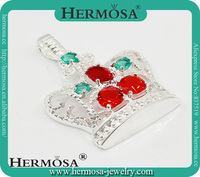 Hermosa Jewelry NEW ARRIVAL Princess Cut Crown Design Red Garnet Blue Topaz Best Xmas Gift Jewelry Pendant Charms