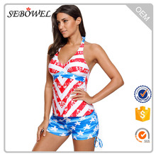Professional Printed High Quality Material Women American Flag Swimwear