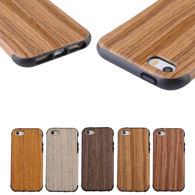 Natural Wood Wooden + TPU Case Cover Protective Pattern For iPhone SE 5S 6 6S 7