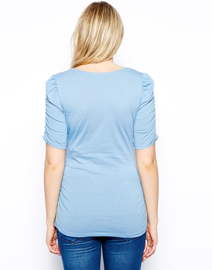 Sky blue plain maternity blouse clothes cheap with ruffle sleeve