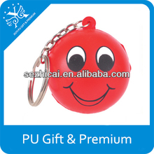 PU stress smiley face soft toys funny face toys foam smiley face keychain promotional cute keychains