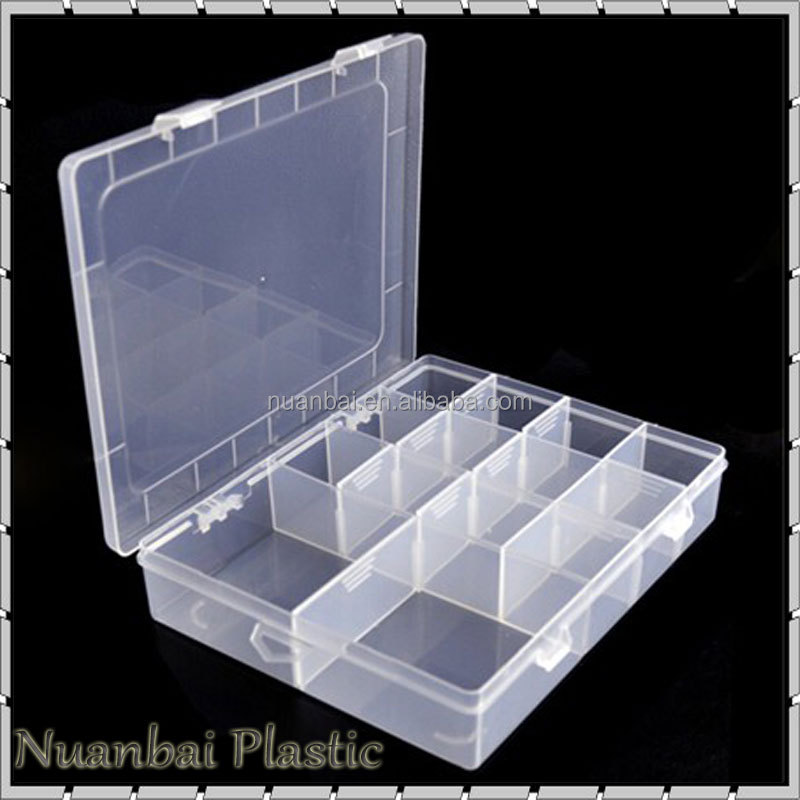 20cm PP 14 slots Clear Plastic Box Storage with dividers