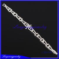 New Fashion Elegant Women Bangle 3 row Wristband Bracelet Crystal Cuff Bling Lady Gift Bracelets