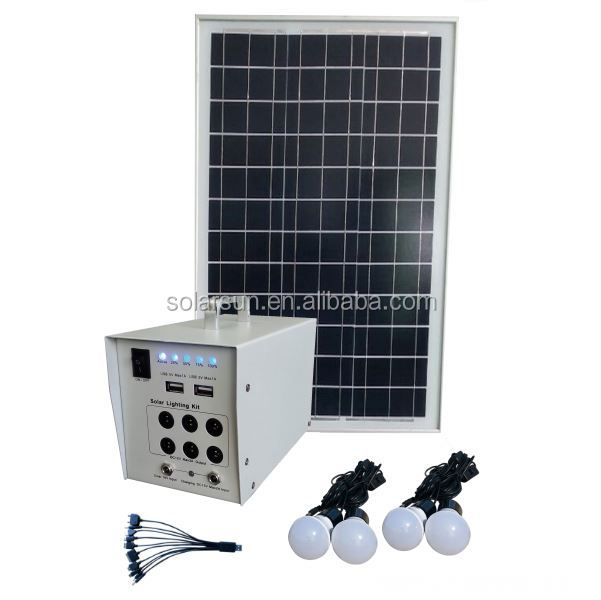 10W Solar Lighting System with FM radio, MP3 player function, 2bulbs