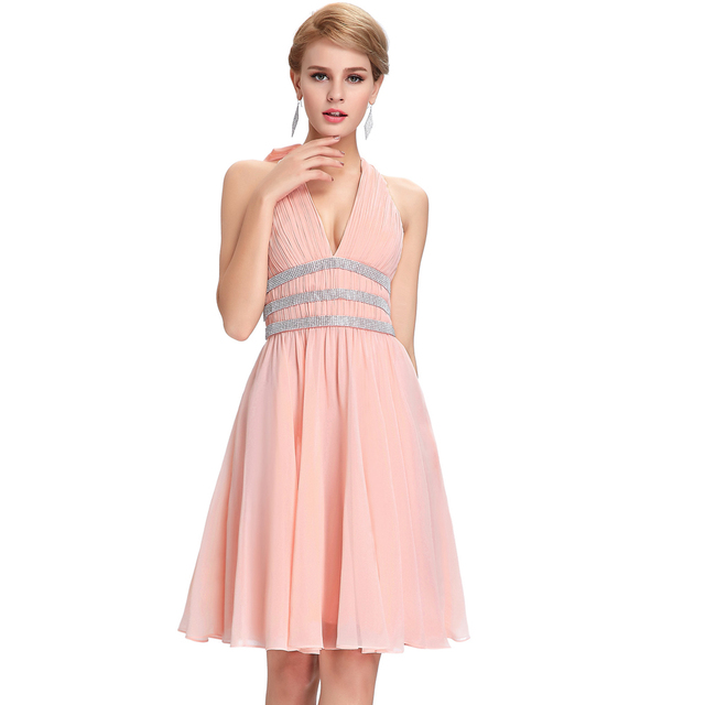 Starzz Deep V-Neck Halter Pink Chiffon Beaded Backless Short Bridesmaid Dress ST000088-1