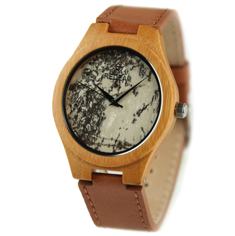 2017 new arrival 100% natural wood stone dial watch, Fashion charming Redear Watch