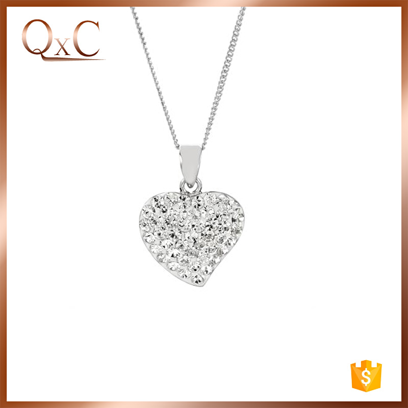 925 sterling silver necklace heart with zircon