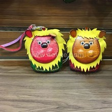 Selling best leather cartoon animal lion clear coin purse