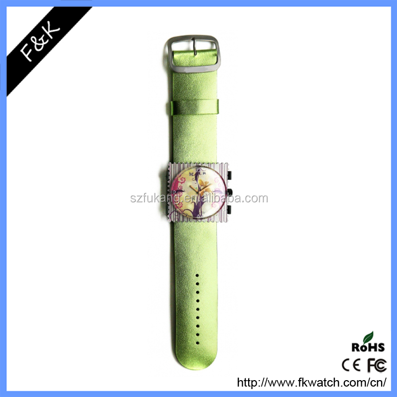 Classic post stamps face plastic watch customized dial with a changable wide band