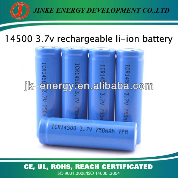 Capacity can be customized 750mah 3.7v icr 14500 li-ion rechargeable battery