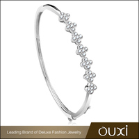 OUXI Silver Jewelry Latest Trend Modern Women Bangles With AAA Zircon