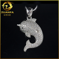 white zircon stone dolphin shaped 925 sterling silver jewelry turkey