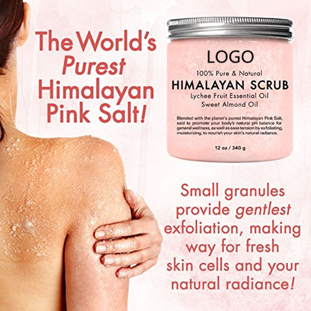 100% Pure and Natural Exfoliating Himalayan Salt Body Scrub with Lychee Essential Oil