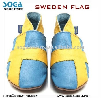 Sweden country flag fashion baby shoes .