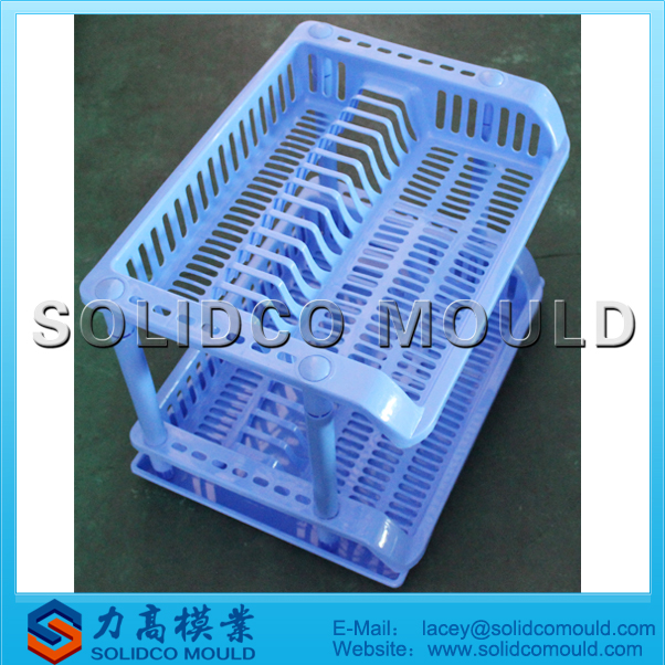 Plastic kitchen accessory two tiers kitchen cabinet storage rack mould