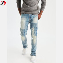 European Casual Street Wear Slim Fit Ripped Washed Jeans For Men Wholesale