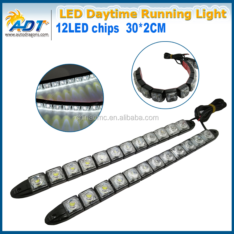 2017 New DC 12V Car LED Light DRL White Daytime Light With projector Lens