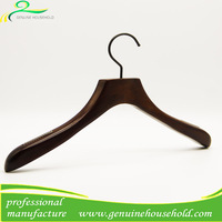 Deluxe Flat Top Antique Thick Wooden Hanger for Coat and Suit Gun Color Anti-Skidding