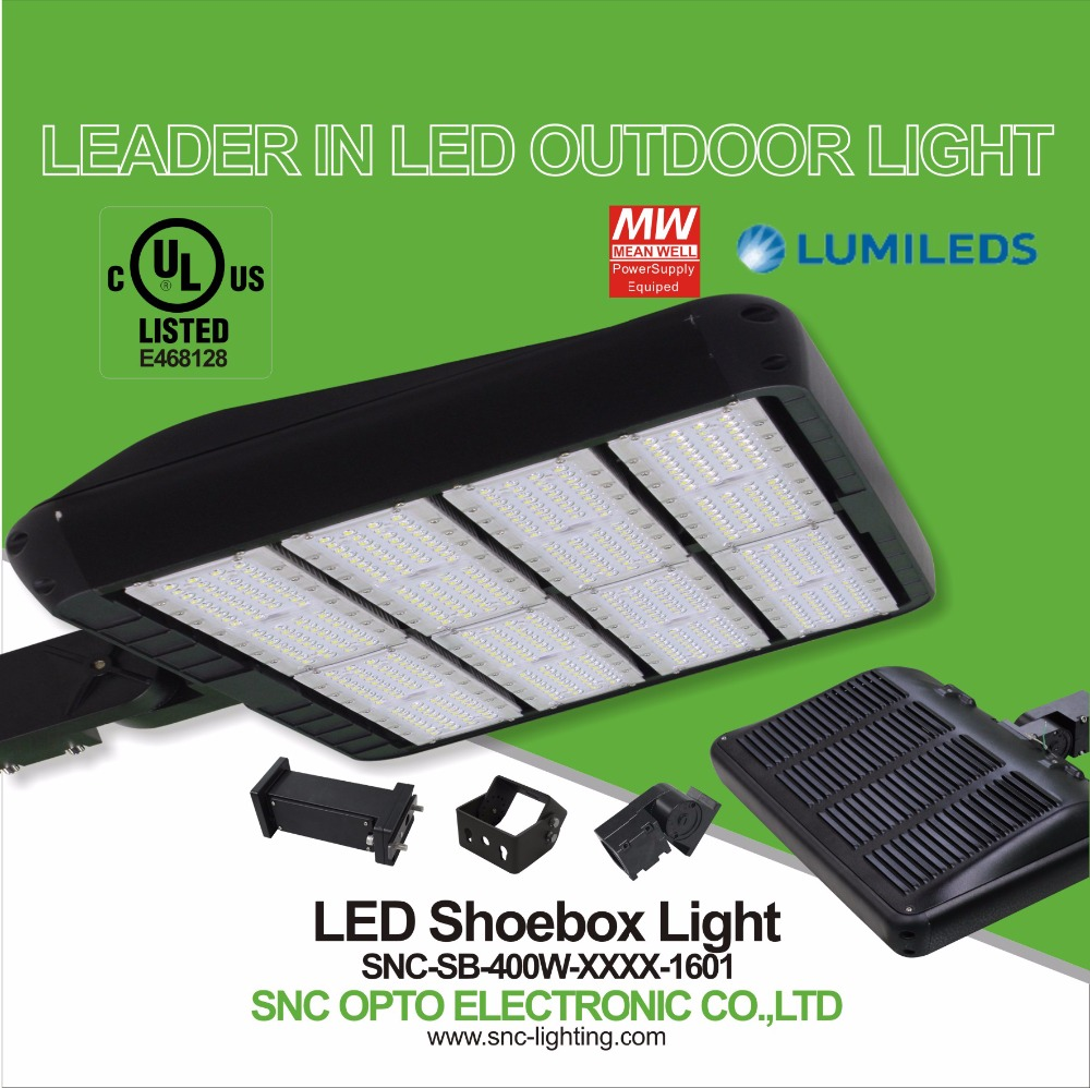 130LM/W 400W led step lights outdoor UL listed IP65 SNC parking lot lights LED area light Magnesium + Aluminum housing