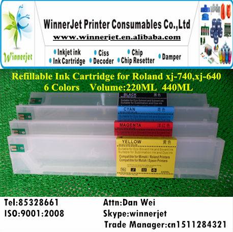Printer Refillable Ink Cartridge for Roland xj 740