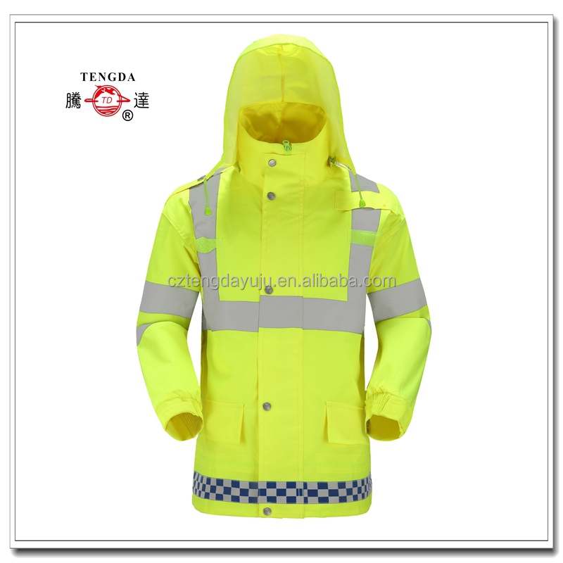 changzhou factory price customized Oxford nylon PVC reflective safety raincoat for policeman
