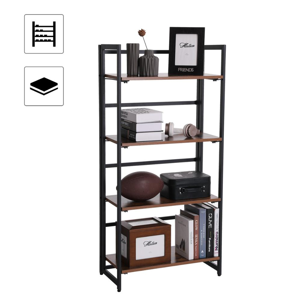 SONGMICS Vintage Bookshelf, 4-Tier Portable Ladder <strong>Shelf</strong>, Folding Bookcase with Metal Frame, for Home and office
