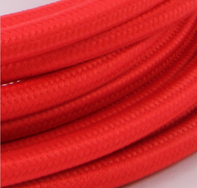 Red Round Braided Lamp Electrical Wire 2 core 3 core