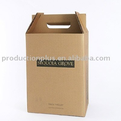6-Bottle Wine Box made of natural brown kraft board printed and gold foil hot stamping logo
