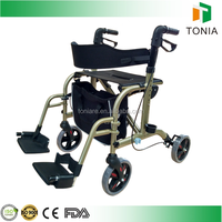Height adjustable rollator walkers with detachable footrest for elderly people
