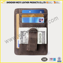 Men Casual Crazy Horse Leather Pocket Money Clip Holiday Travel Wallet Dark Brown