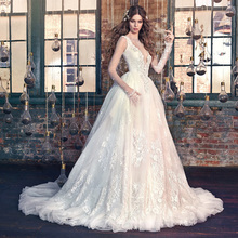 Disbest 2017 New Arrival Long Sleeves White Lace Appliqued Sexy Bridal Gown Wedding Dress