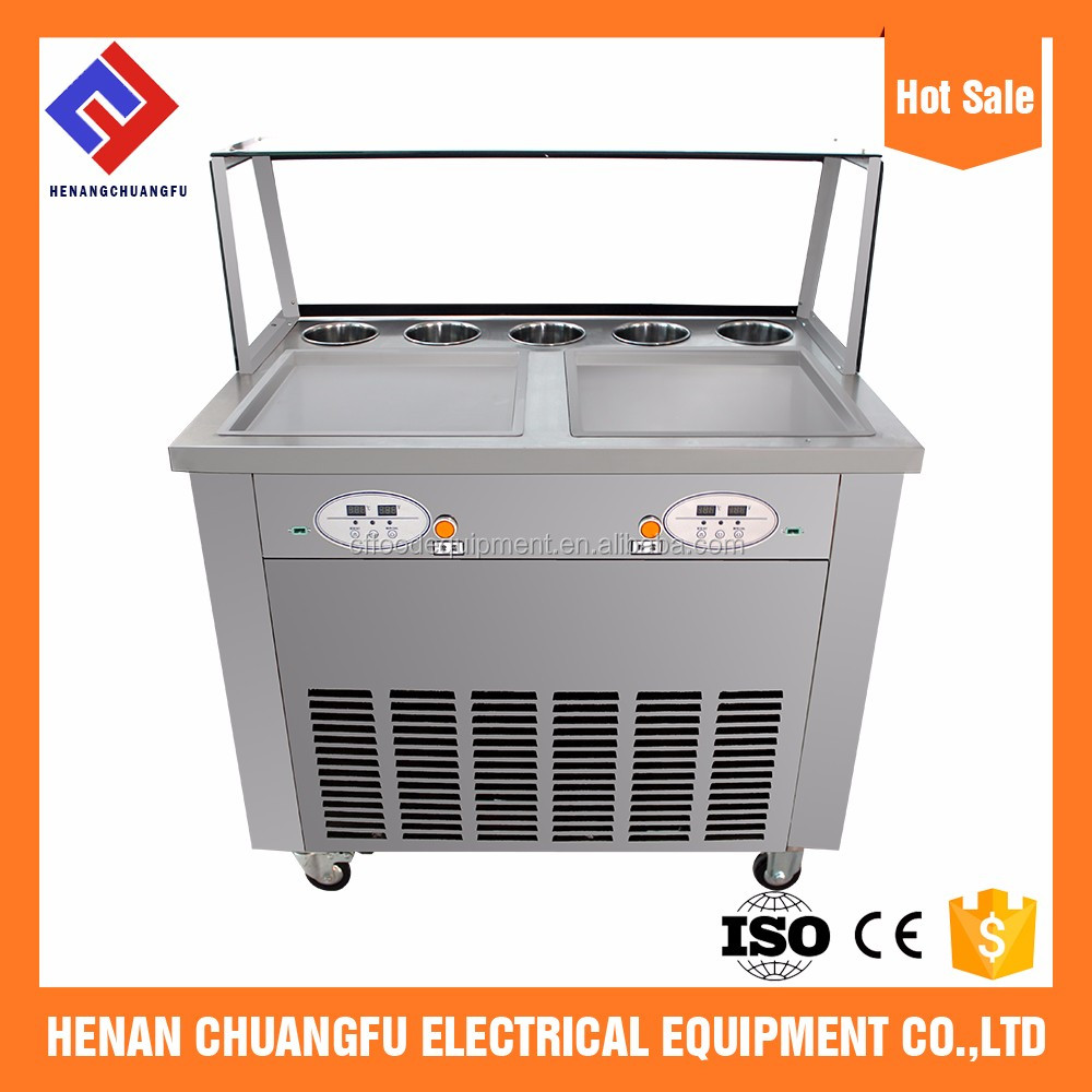 Henan Chuangfu Double pans thailand style roll fry ice cream machine with flat table