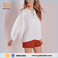 Latest design korean style fashion women blouse o-neck chiffon style blouse