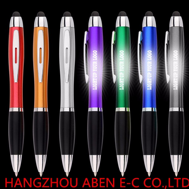 Touch screen light up logo ball pen stationery stylus pen led laser logo pen for promotional
