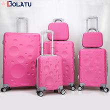 China factory hot sale ABS hard shell new travel trolley pink luggage sets