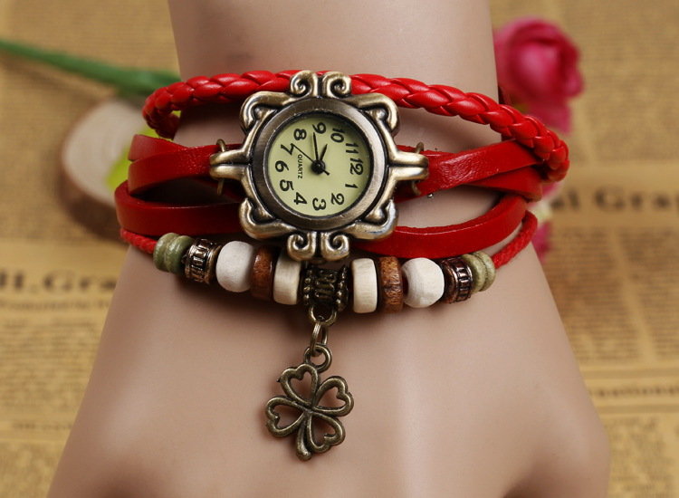 Drop Shipping Vintage Clover Watches Women Leather Strap Hot Sell Bracelet Wrist lady bracelet watches