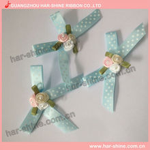2017 Hot sale Wholesale Polka Dot Printed Satin Ribbon Handmade Bow With Rose