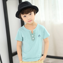 American Sprcial Collar Neck Cheap Custom <strong>Boy's</strong> <strong>T-shirt</strong> For Summer