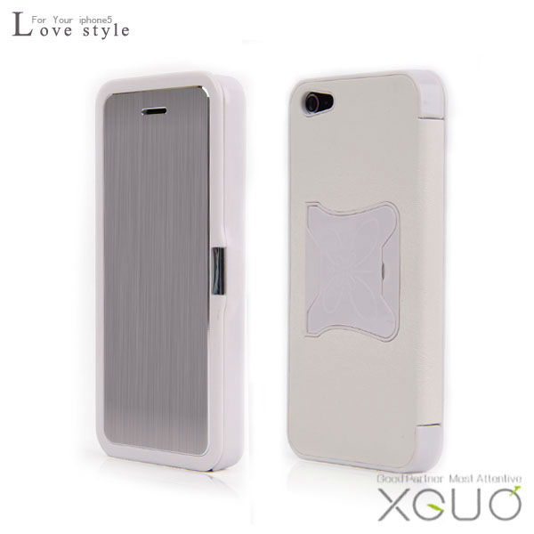 Good quality pure white leather hard back housing cover for iPhone 5 5g romantic love feeling