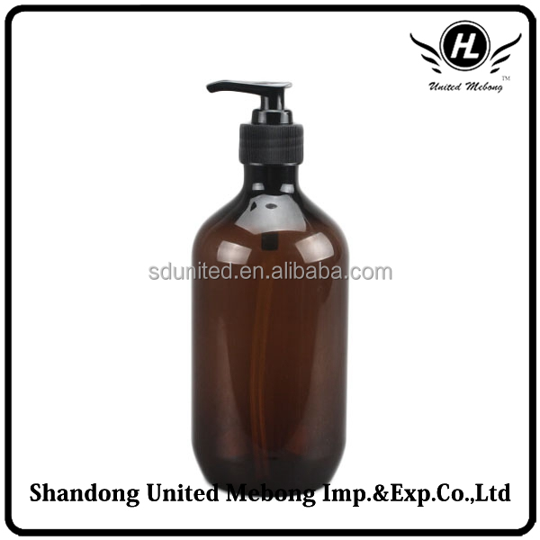 Empty 500ml 300ml amber color PET liquid shampo bottle with pump