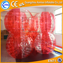 Half red soap football, inflatable balls ride/human sized soccer bubble ball