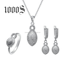 Indian Jewelry Set Bridal 925 Sterling Silver Drop Shape Micro-Pave Setting CZ