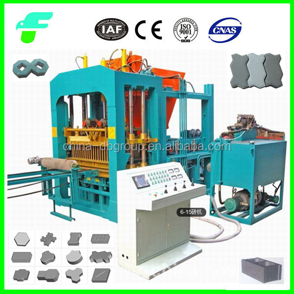 QT6-15 Fully Automatic Color Fly Ash Cement/Concrete Brick Block Making Machine Price