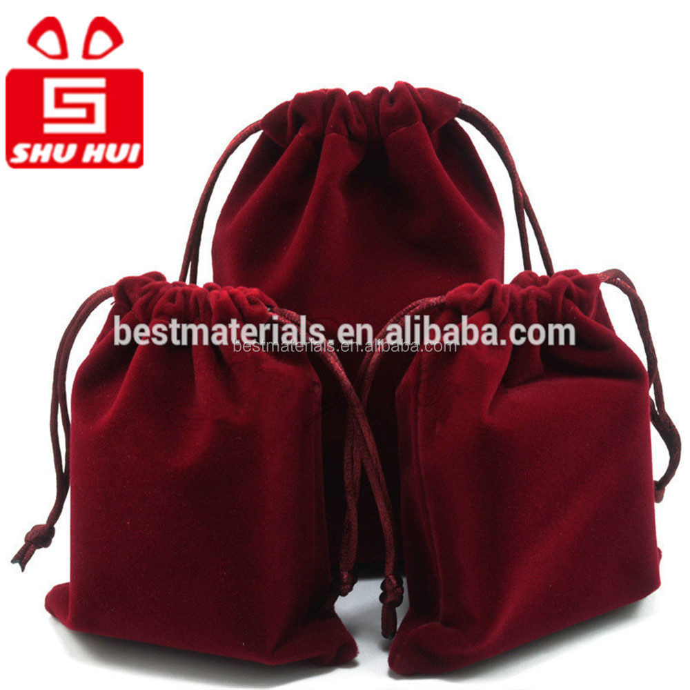 Hot red velour pouches velvet bag for ipad wrist watch pouch 2013 drawstring velvet pouch