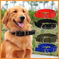 Pet Dog Metal Buckle 2-rows Army Green Nylon Fabric Belt Strap Adjustable Collar