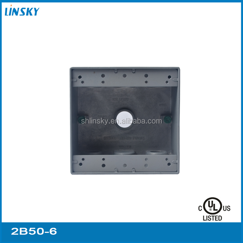 "UL listed 6 outlet hole 1/2""hole 18.3 electrical two gang outdoor weatherproof metal outlet box"